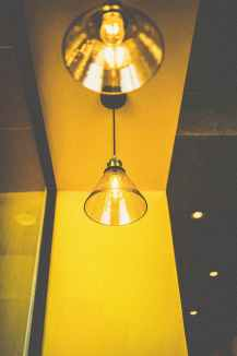 closeup photo of turned on pendant light